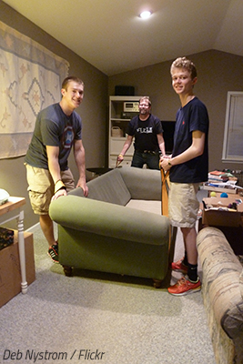 Getting friends to help you move.